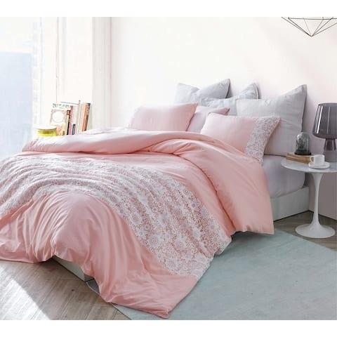 White Lace Duvet Cover - Rose Quartz