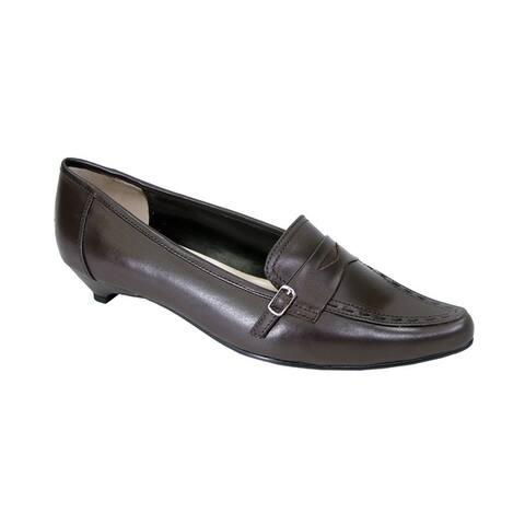 PEERAGE Kim Women Extra Wide Width Leather Pumps with Kitten Heels