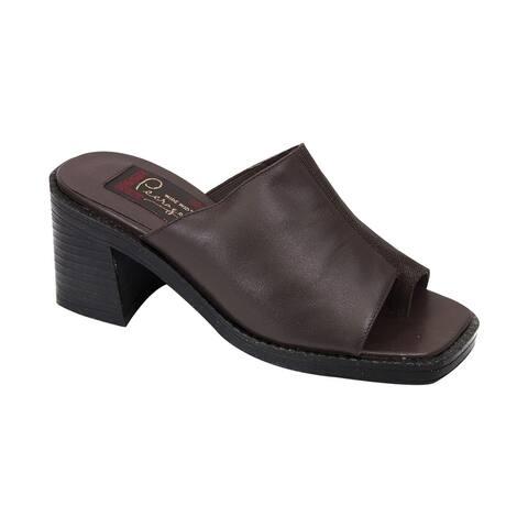 PEERAGE Adeline Women Extra Wide Width Comfort Leather Heeled Sandal