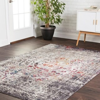 Transitional Bohemian Grey/ Multi Vintage Medallion Area Rug - 12' x 15'