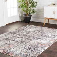 Transitional Bohemian Ivory/ Grey Abstract Vintage Area Rug - 6' x 8'8