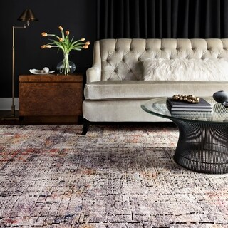 Transitional Bohemian Grey/ Rust Abstract Vintage Area Rug - 6' x 8'8