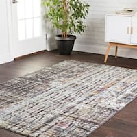 Transitional Bohemian Grey/ Multi Abstract Vintage Area Rug - 7'10 x 10'6