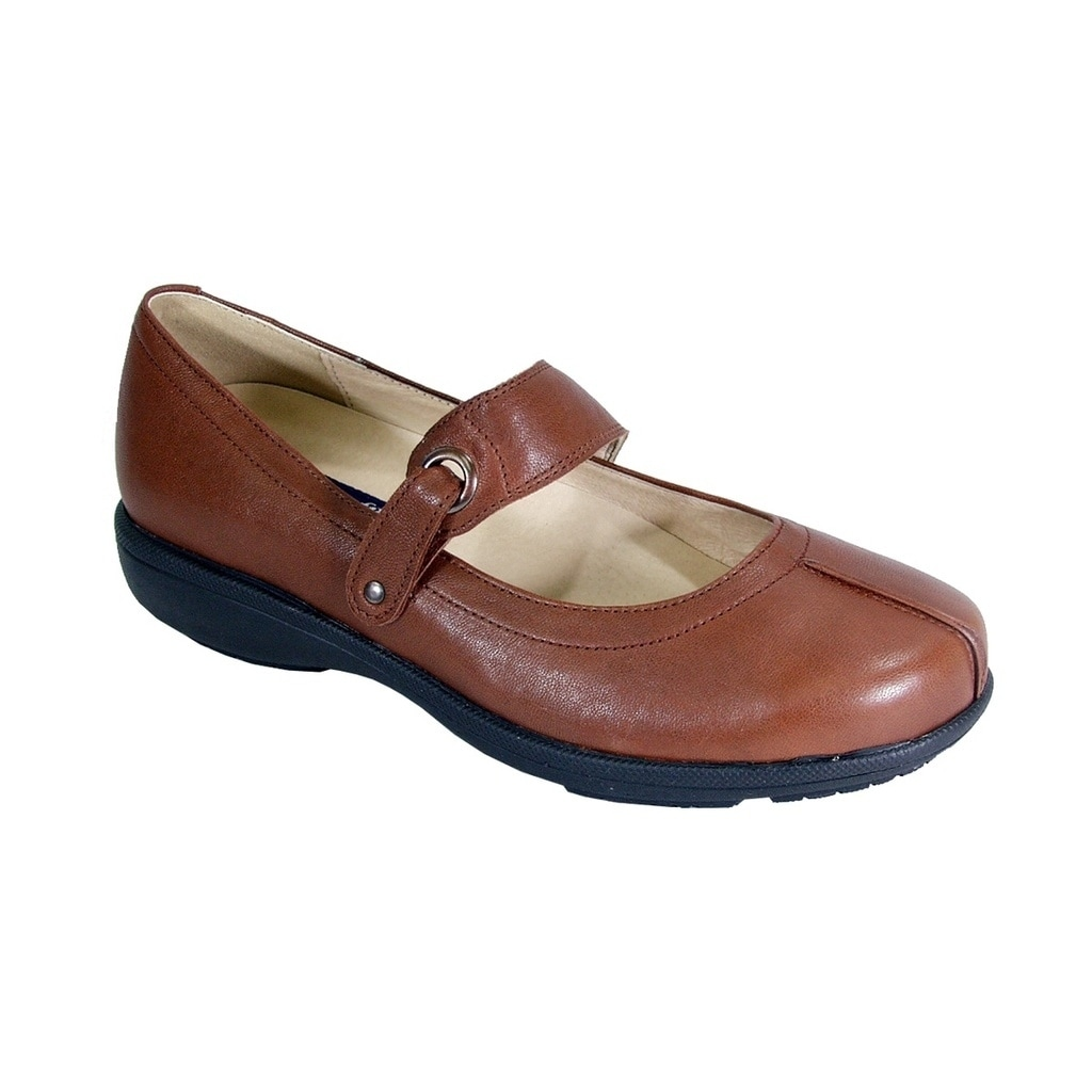 Padders KAY Ladies Leather Super Wide Plus Mary Jane Shoes Navy