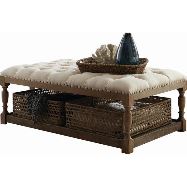 Shop Coaster Tufted Vintage Coffee Table With 2-basket