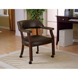 "Traditional Faux Leather Home Office Chair with Casters - 25"" x 26"" x 30"""