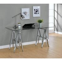 Casual Silver Glass Top Adjustable Writing Desk