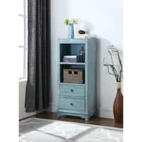 Rustic Blue Accent Cabinet with Woven Basket