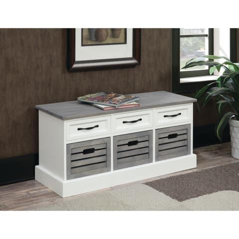 """Traditional White and Grey Cabinet - 39.25"""" x 13.75"""" x 17.75"""""""