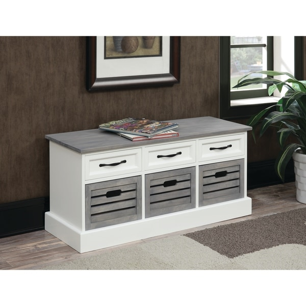 "Traditional White and Grey Cabinet - 39.25"" x 13.75"" x 17.75"". Opens flyout."