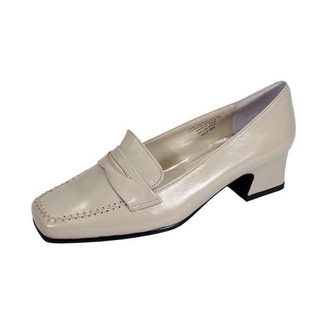 PEERAGE Ida Women Extra Wide Width Comfort Leather Penny Loafer Shoes