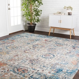 Transitional Bohemian Blue/ Rust Vintage Floral Area Rug - 2'4 x 4