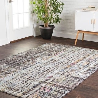 """Transitional Bohemian Grey/ Multi Abstract Vintage Area Rug - 2'4"""" x 4'"""