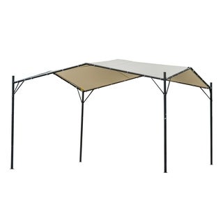 Outsunny Steel 10' x 10' Outdoor Garden Steel Butterfly Gazebo Canopy Cover - Beige