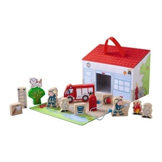 HABA To the Rescue! Portable Wooden Fire House Playset