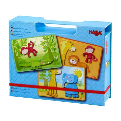 HABA Safari Animals Magnetic Game Box - with 34 Magnetic Pieces