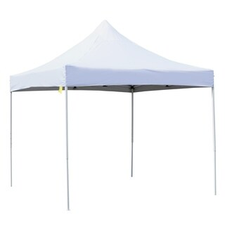 Outsunny 10' x 10' Easy Pop-Up Canopy Party Tent Picnic Party Outdoor Patio with Cathedral Style Roof - White