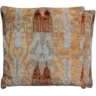 "Handmade 20"" Chenille Ikat Throw Pillow, Set of 2 (India)"