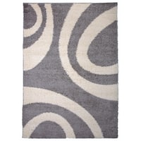 OSTI Cozy Grey/Cream Modern Contemporary Circles Design Shag Area Rug - 7'10 x 10'