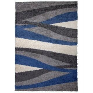 """OSTI Cozy Shag Modern Waves Blue Area Rug - 7'10"""" x 10'"""