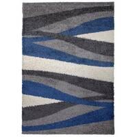 OSTI Cozy Shag Modern Waves Blue Area Rug - 7'10 x 10'