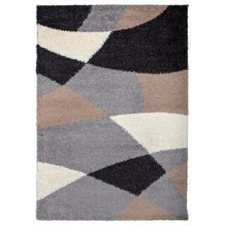 "OSTI Cozy Beige/Grey/Black Contemporary Geometric Shapes Shag Area Rug - 7'10"" x 10'"