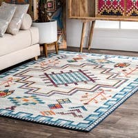 nuLOOM Blue Contemporary Modern Abstract Tribal Area Rug - 5' x 7' 5""