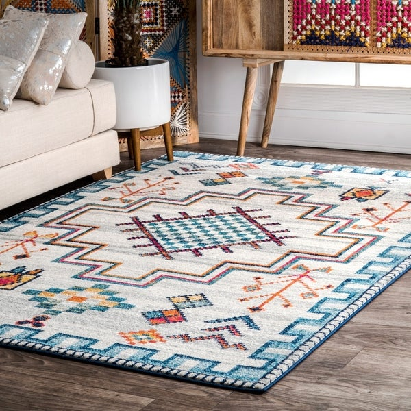 nuLOOM Blue Contemporary Modern Abstract Tribal Area Rug - 5' x 7' 5
