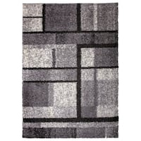 OSTI Geometric Boxes Grey Shag Area Rug - 7'10 x 10'