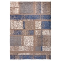 OSTI Cozy Blue/Brown Modern Geometric Boxes Shag Area Rug - 7'10 x 10'