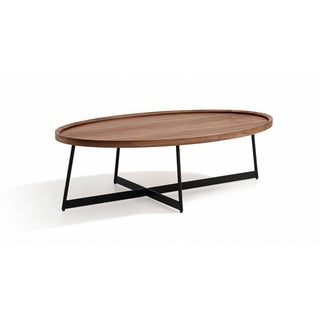 Uptown Brown Wood and Metal Oval Coffee Table