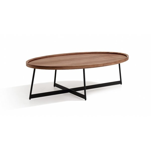 Oval Wood And Metal Coffee Table: Shop Uptown Brown Wood And Metal Oval Coffee Table