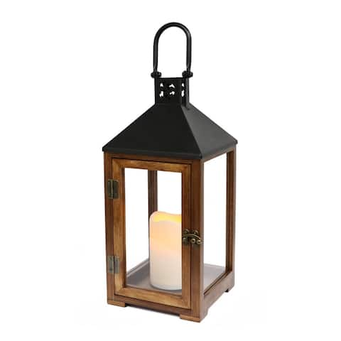 Puleo International 14.5 inch Wood and Metal Lantern with LED Candle