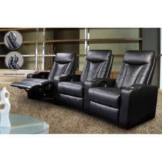Pavillion Black Leather Home Theater Recliners