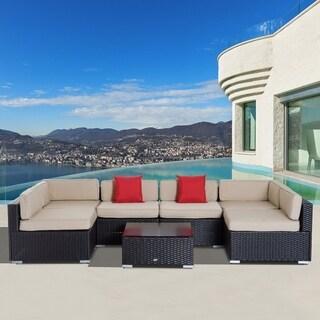 7 Piece Wicker Sofa Set Outdoor Patio Conversation Furniture Sectional