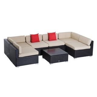 Outsunny 7 Piece Wicker Sofa Set Outdoor Patio Conversation Furniture  Sectional Cushioned