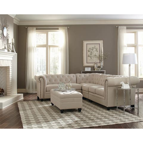 Roy Traditional Fabric Sectional (Beige / Grey)