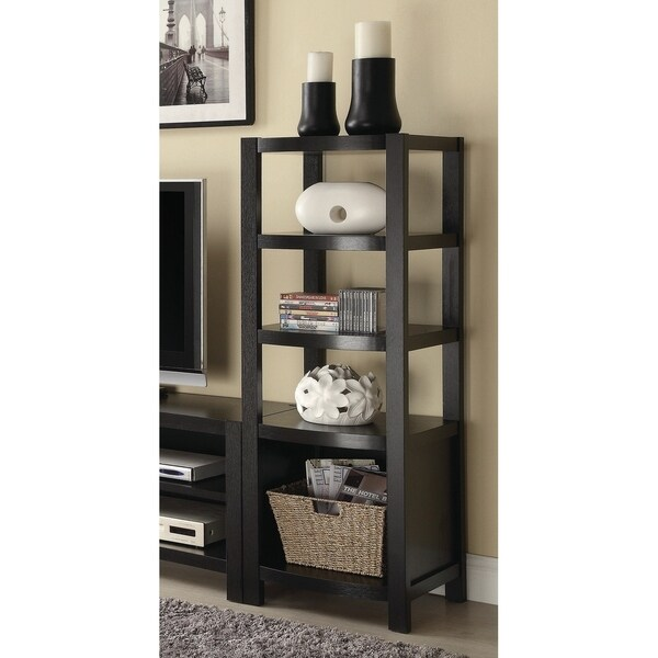 Contemporary Cappuccino 4-shelf Media Tower 37085420
