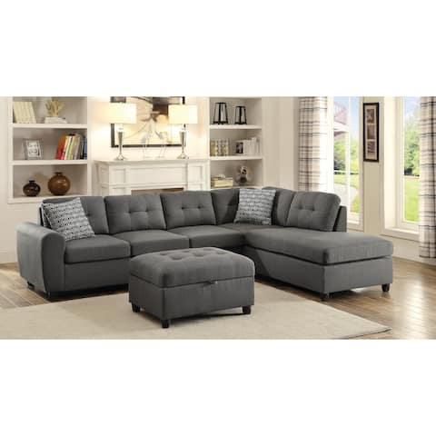 "Stonenesse Contemporary Grey Sectional - 110"" x 79"""