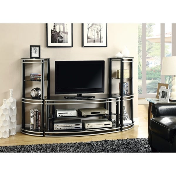 Contemporary Black and Silver Media Tower 37085441