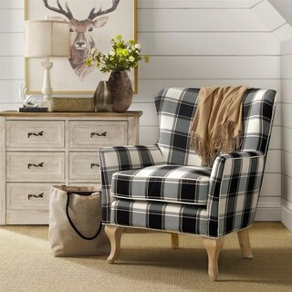 Avenue Greene Fremont Checkered Pattern Accent Chair