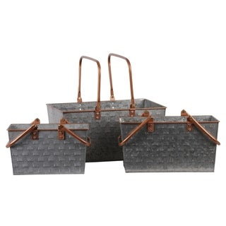 UTC56208: Metal Rectangular Basket with 2 Copper Handles and Rim, and Vented Pattern Body Set of Three Galvanized Finish Gray