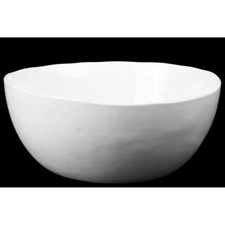 UTC54301: Ceramic Round Bowl with Irregular Lip and Tapered Bottom Gloss Finish White