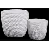 UTC44227: Ceramic Round Pot with Dimpled Surface and Tapered Bottom Set of Two Gloss Finish White