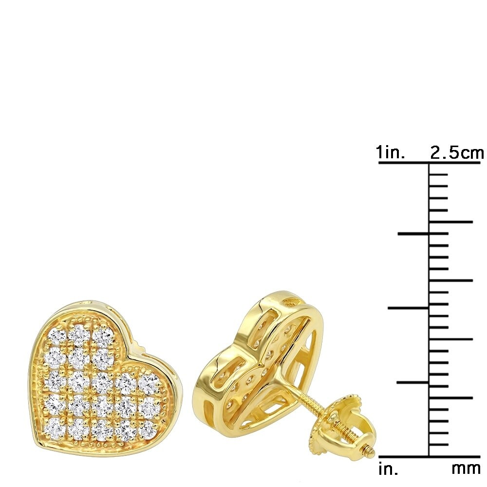 906a0a75d88853 Shop Heart Shaped Diamond Earrings for Women 14k Gold Studs 0.75ctw by  Luxurman - Free Shipping Today - Overstock - 22285867