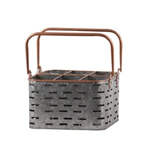UTC56205 Metal Rectangular Caddy with 2 Copper Handles, Rim and Round