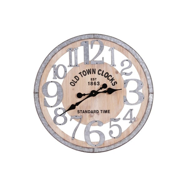 "UTC57509 Wood Round Wall Clock with ""Old Town"" Theme and Metal Frame"
