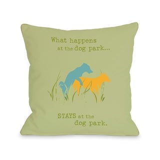 Dog Park - Green Yellow Blue  Pillow by Dog is Good