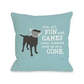 Its All Fun and Games - Blue Gray  Pillow by Dog is Good