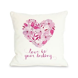 Love is Destiny - White Pink Multi  Pillow by Ana Victoria Calderon